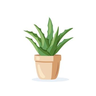 평면 스타일에 고립 된 화분에 집 식물