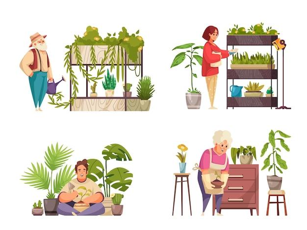 흰색 평면 그림에 격리된 관엽식물을 돌보고 물을 주는 사람들이 있는 가정 식물 2x2 구성