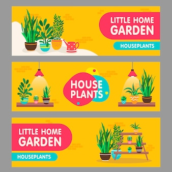 Home plants banners set. houseplants with pots on shelves vector illustrations with text. home interior and garden concept for flower shop flyers and leaflets design