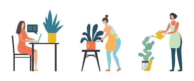 家の植物。ガーデニングのコンセプト。鉢植えの植物を持つフラットな女の子の花屋の庭師のキャラクター。女性のガーデニング、植物学、花の植え付けのイラスト