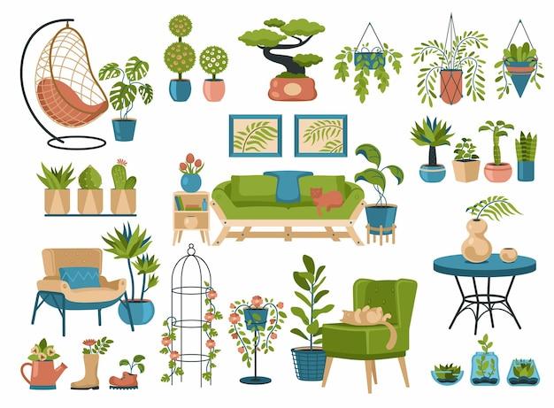 装飾的なインテリアの観葉植物。エキゾチックな自然の花が咲くミニマルな鉢。芸術的な家具のヴィンテージの装飾品。スカンジナビアの自由奔放に生きるスタイルのリビングルームの側近。ベクトルイラストセット
