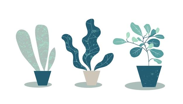냄비에 집 식물입니다. 화분에 심은 식물의 간단한 평면 그림입니다. 몬스테라 잎과 열대 식물이 있는 현대적인 디자인. 예술적 패션 인쇄. 벡터 eps10 그림