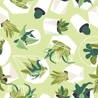흰색 냄비에 가정 식물은 밝은 녹색 배경 그림에 원활한 패턴을 디자인합니다.