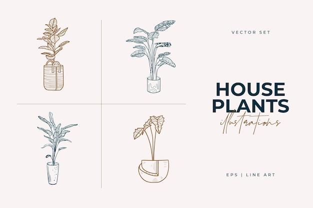 Комнатные растения, изолированные на белом фоне коллекция комнатных растений в горшках home decor