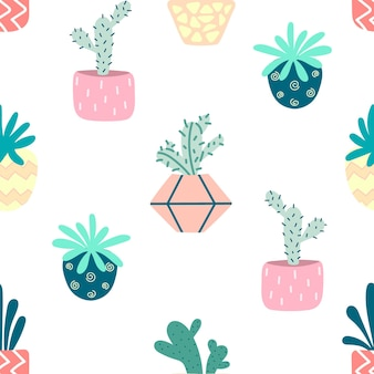 Home plants in pots with a seamless pattern. indoor flowers