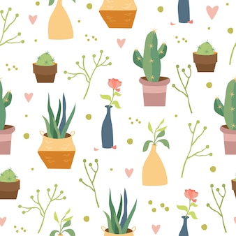 Home plants seamless pattern