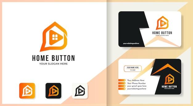 Логотип кнопки воспроизведения дома и дизайн визитной карточки