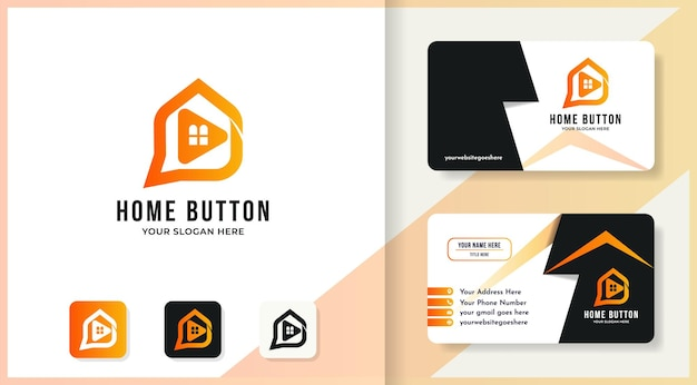 Home play button logo and business card design