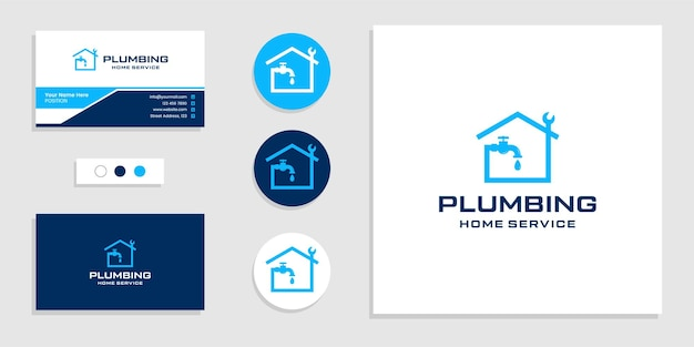 Home plumbing service logo and business card design template
