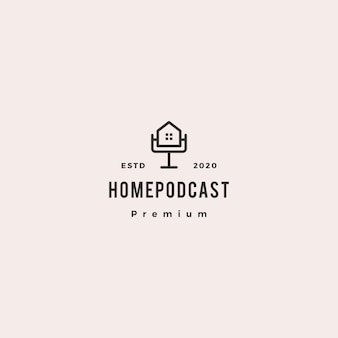 Домашний подкаст логотип хипстер ретро винтаж значок для дома ипотека блог видео влог обзор канала