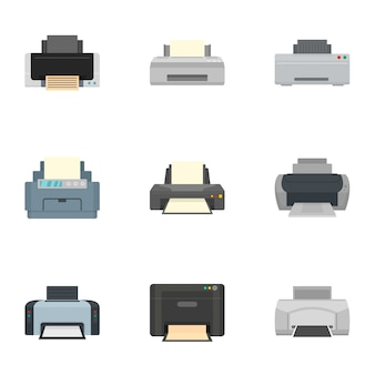 Home printer icon set, flat style