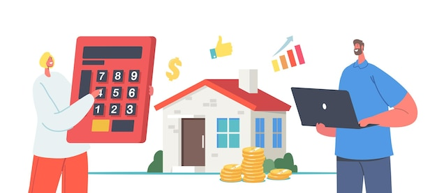 Home professional appraisal with tiny agents holding huge calculator and laptop at real estate building. value, assessment. appraisers characters house inspection. . cartoon people vector illustration