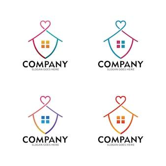 家の保護のロゴ、家が大好きです。外出禁止令のロゴ-ベクトル