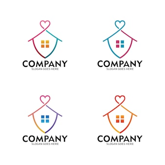 Home protection logo, love home. stay at home logo - vector