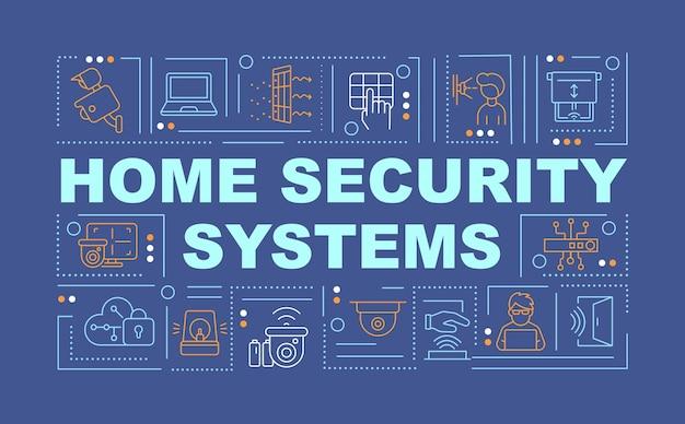 家の保護システムの単語の概念のバナー。保護ツール。青い背景に線形アイコンとインフォグラフィック。孤立した創造的なタイポグラフィ。テキストとベクトルアウトラインカラーイラスト