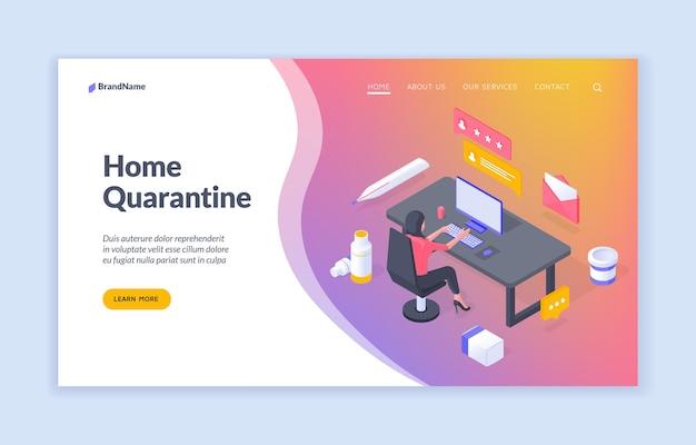 Home quarantine  isometric web banner landing page template