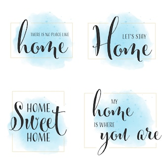 Home quote calligraphy on blue watercolor background with golden frame collection