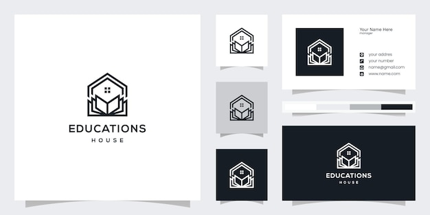 Home read logo design library logo and business card design