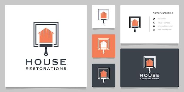 명함이 있는 홈 부동산 및 페인트 브러시 로고 디자인 개념