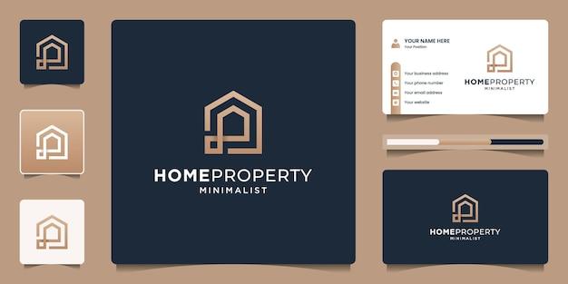 골든 브랜딩 홈 부동산 로고 디자인 템플릿. 집을 짓기위한 크리 에이 티브 라인 아트 스타일 기호.