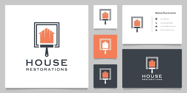 Home real estate and paint brush logo design concepts with business card