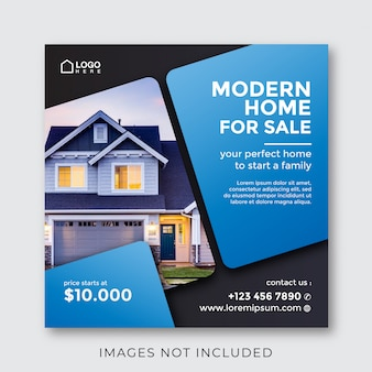 Home real estate property square banner for social media Premium Vector