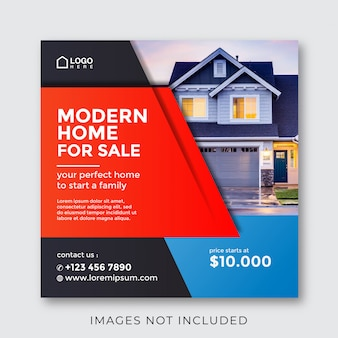 Home real estate property square banner for social media