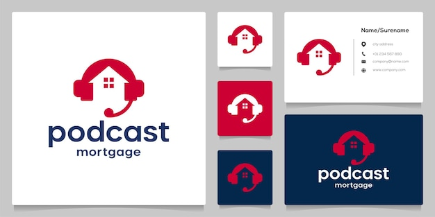 Home real estate with headphone services podcast logo design with business card
