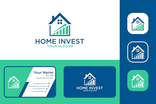 Home real estate with invest logo design and business card