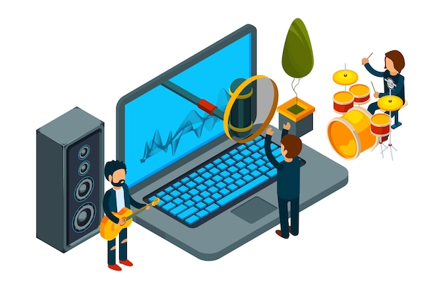 Home record studio. isometric guys record song on laptop. vector musicians and singer. illustration laptop studio, record with microphone