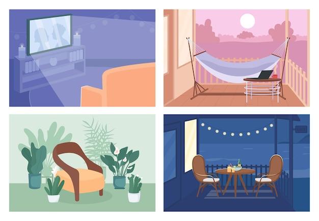 ホームレクリエーションフラットカラーベクトルイラストセット。裏庭でのロマンチックなディナー。テレビを見ている。背景のコレクションに居心地の良い屋内と屋外のスペースを持つ空の家庭用2d漫画のインテリア