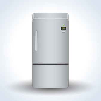 Home refrigerator realistic vector icon