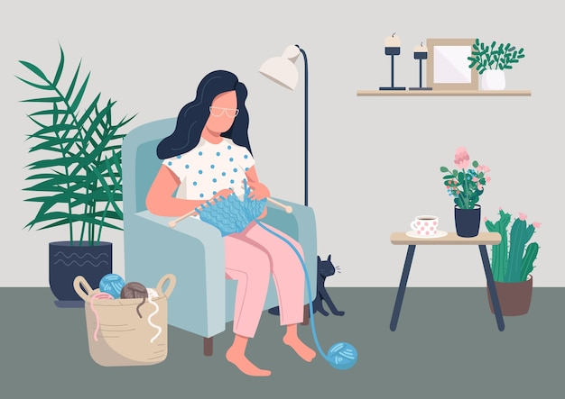 Home relaxation flat color illustration