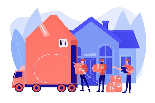 트럭의 주택 재배치, 고객 상자 및 판지 용기. 이사 서비스, 호별 철거, 최고의 이사 서비스 개념. 분홍빛이 도는 산호 bluevector 고립 된 그림