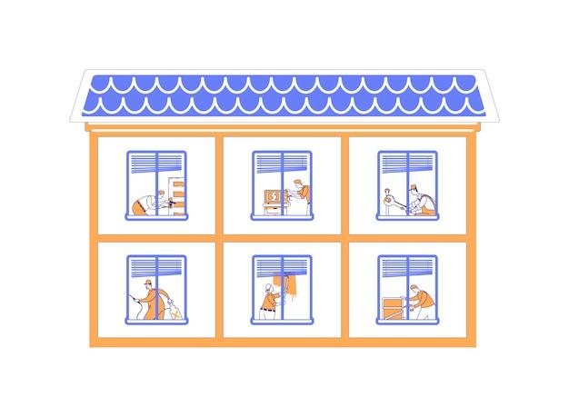 家の改修フラットカラーイラスト