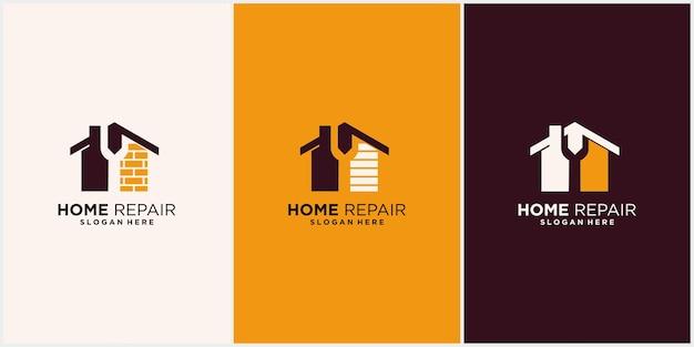 명함 디스플레이가 있는 주택 개조 주택 수리 주택 개선 및 산업 로고 디자인