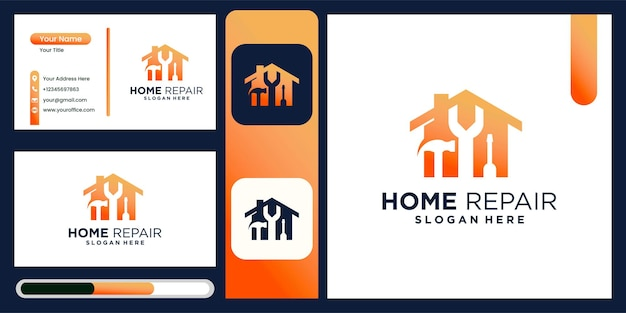 Home renovation home repair home improvement and industry logo design with business card display