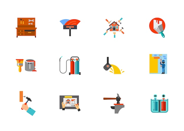 Home renovation icon set