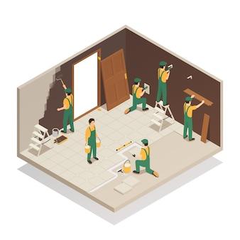 Ristrutturazione casa composizione isometrica