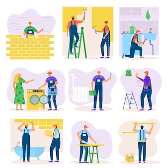 그림의 노동자 세트와 인테리어 또는 건축 개선의 홈 리노베이션. 방, 수리, 빌드에서 일하는 장인 팀. 주택 리뉴얼, 전기 유지 보수 작업.
