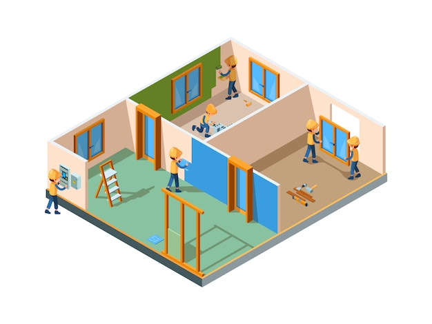 Home renovation. stages rooms interior renovation paint wall flooring new construction builders working equipment isometric