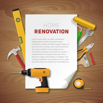 Home renovation template with realistic hand tools