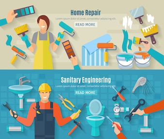 Home repair banner set with renovation and construction work elements