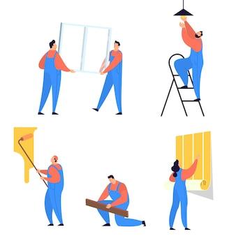 집 수리 개념. 집 리노베이션을 하 고 제복을 입은 전문 노동자. 건설 노동자. 삽화