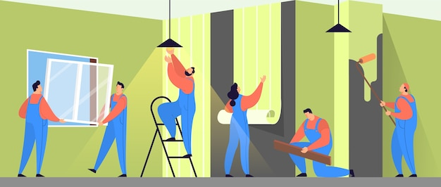 Home repair concept. professional worker in uniform doing house renovation. construction worker.   illustration