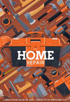 Home repair and construction work tools poster