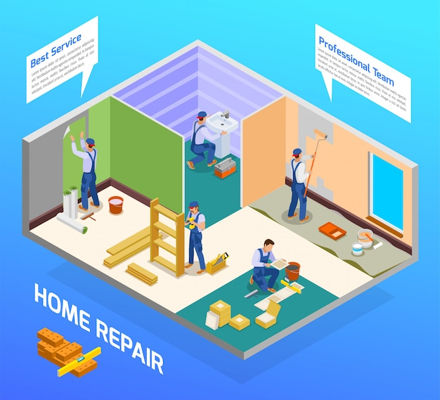 Home repair craftsman isometric composition with house remodeling professional team flooring painting sanitary installation service