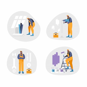 Home repair interior or remodeling  illustration. repairman doing renovation at home flat style concept. work process at room. special tools and equipment