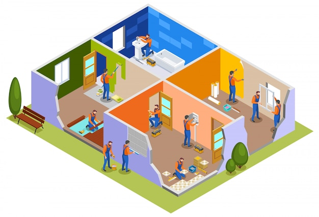 Home repair isometric composition with workers in apartment interior involved in painting walls laying tiles doors installation plumbing work  illustration
