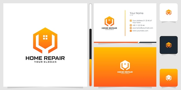 家の修理のロゴのデザインと名刺のテンプレート